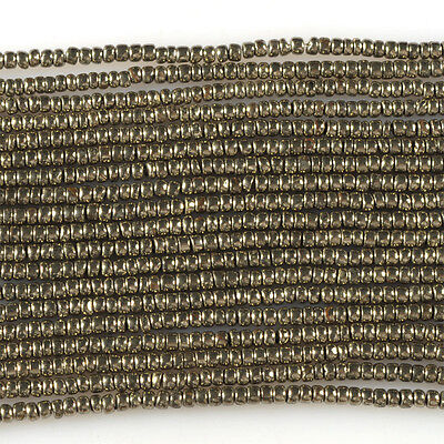 """0154 3x2mm Pyrite rondelle loose beads 16"""""""