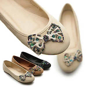 New-Womens-Shoes-Ballet-Low-Heels-Flats-Loafers-Cute-RhineStones-Multi-Colored