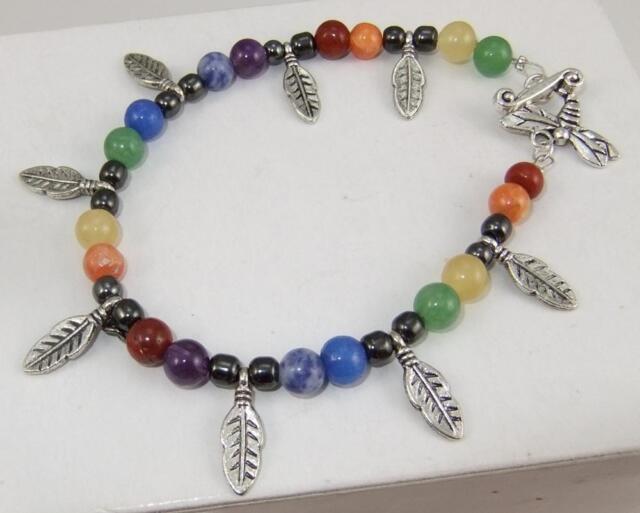 Gem stone Chakra Rainbow Pagan bracelet with silver feather charms