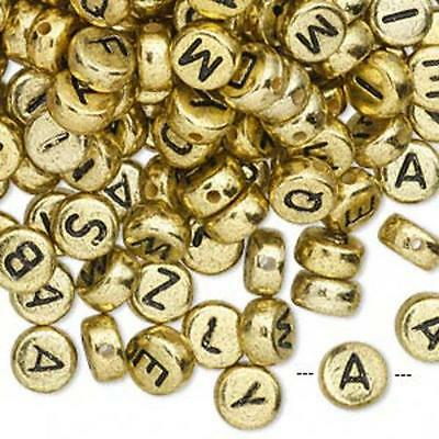 wholesale lot of 400 alphabet bead coins gold with black letters on both sides