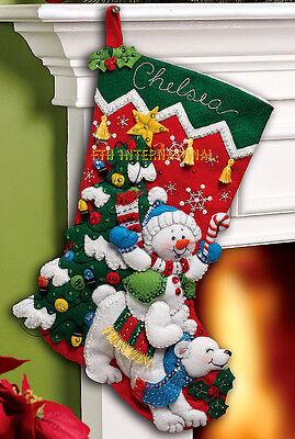 "Bucilla Snowman & Polar Bear ~ 18"" Felt Christmas Stocking Kit #86358 Tree New"