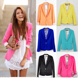 New-Collection-Stylish-Womens-One-Button-Tunic-Foldable-Sleeve-Blazer-Jacket-BZ