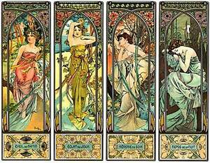 Times-of-the-Day-22x30-Hand-Numbered-Ltd-Edition-Art-Print-by-Alphonse-Mucha