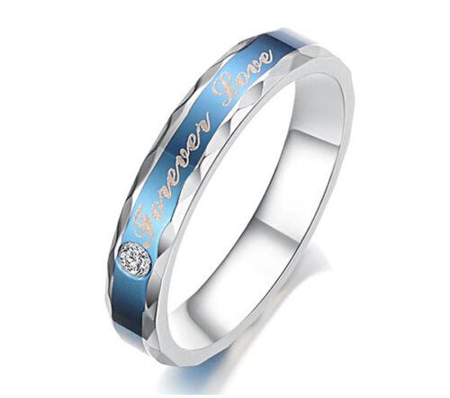 Cuchillo De Acero De Titanio Forever Love Promise Ring Couple Wedding Bands Amor Regalo J02