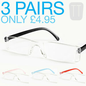 3-PAIRS-NEW-RIMLESS-READERS-READING-GLASSES-VARIOUS-STRENGTHS-1-5-to-4-00