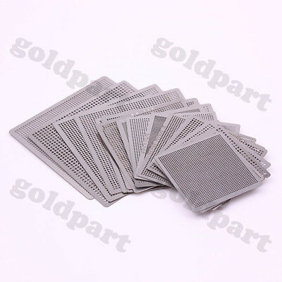 15pcs Directly Heat Rework BGA  Reball Reballing Universal Stencil Template Set