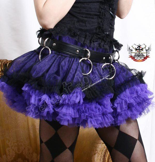 Ballerina Dance Gothic Punk Puffy Tutu Ruched Jester Skirt+Bloomer Black+Purple