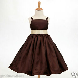 BROWN-CHOCOLATE-SPAGHETTI-STRAPS-BRIDESMAID-FLOWER-GIRL-DRESS-18M-2-4-6-8-10-12