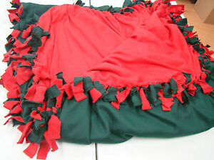 New Fashion Lap Throw Warm Snuggle Fleece Knotted Blanket Green Red 10' x 4'