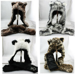 Winter-Hood-Animal-Faux-Fur-Hat-Scarf-With-Mittens-Gloves-Pocket-Paw-Print-UK