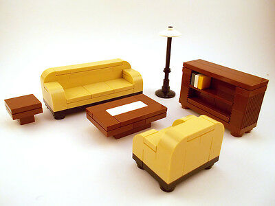 LEGO Furniture: Formal Seating (Tan) w/ couch, bookshelf, tables ++ [town,lot]