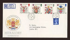 1984-Heraldry-ROYAL-COURT-Post-Office-with-BUCKINGHAM-PALACE-CDS
