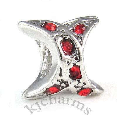 Wholesale 10pcs Silver X Cubic Zirconia European Spacer Charm Beads For Bracelet