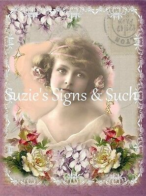 Fabric Block Vintage Altered Framed Art Flowers Victorian Girl ~Chic & Shabby~