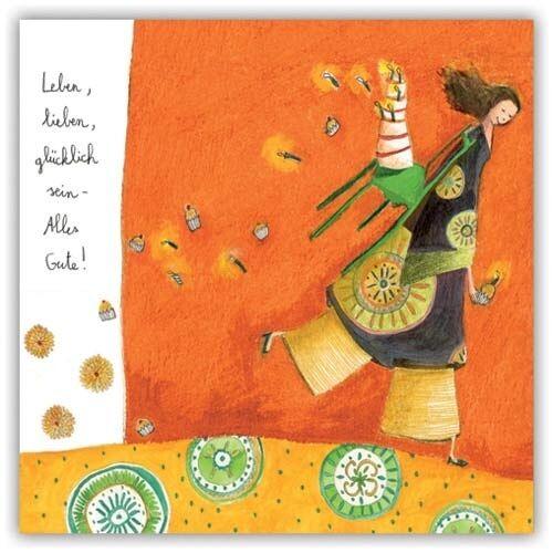 ANNE SOPHIE RUTSAERT*Postkarte*romantische Mädchenmotive/& Spruch*14 x14cm*