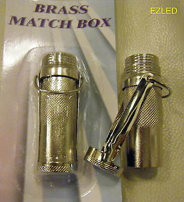 Brass Watertight Matches Container Chrome Plated NEW