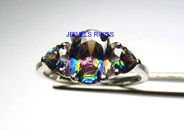 Very Special Rainbow CZ Three-Stone Ring in 925 Sterling Silver