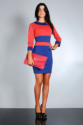 Classic & Trendy Two-Colors Dress 3-Quarter Sleeve Boat Neck Sizes 8-14 FA32