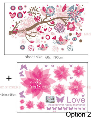 COMBO Flower Tree/&Bird Cages Wall Stickers Removable Vinyl Decal Girls Kids Room