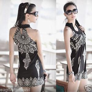 Exotic-Totem-Vintage-Stand-Collar-Sleeveless-Mini-Dress