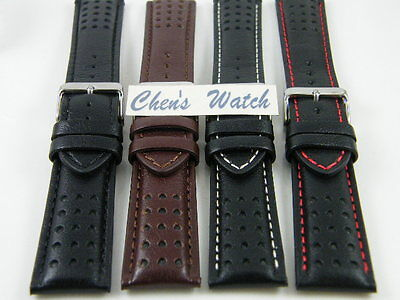 HQ ITALY GOAT LEATHER RACING GT RALLY DOTTED WATCH BAND 20~24 MM THICK STRAP