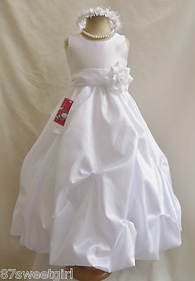 PO1 WHITE / WHITE  RECITAL PARTY PAGEANT PROM BIRTHDAY FLOWER GIRL DRESS