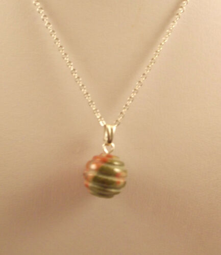 """Various semi precious gemstone beehive pendants and 18/"""" silver plated chains."""