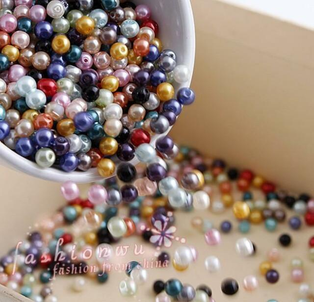 500X Multicolor Round Pearl Imitation Glass Beads 4mm 1