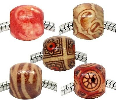 12mm Wooden Artistic Patterns Large 5.3mm Hole Charm Beads 10pc
