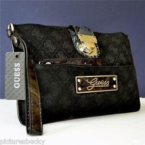 Guess-Black-Dakar-Clutch-Handbag-Bag-Purse-A