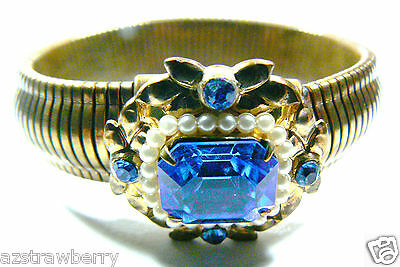 Vintage Coro signed Goldtone Metal Blue Crystal White Pearl Faux bangle bracelet