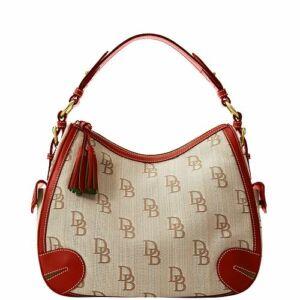 Dooney-Bourke-Signature-Jacquard-Side-Pocket-Hobo-Brown-Red