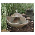 Athena Garden Fountain, Cast Stone, Mushroom, Cascade, Concrete, Patio & Outdoor, Rock Garden Water Feature (CF906SS)
