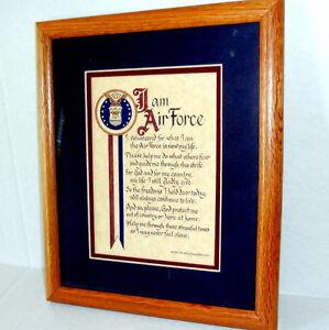 AIR-FORCE-PRAYER-FRAMED-ART-CALLIGROPHY-RON-KNOX-STUDIOS-Troops-Airman-Pilot-DAD