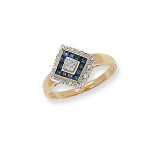 9ct-Yellow-Gold-Sapphire-amp-8pt-Diamond-Off-Set-Square-Ring-RD227S
