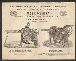 SAINT-DIE-88-CONSTRUCTEUR-de-MACHINES-AGRICOLES-034-VALCK-VIREY-034-Tarifs-1870-1880