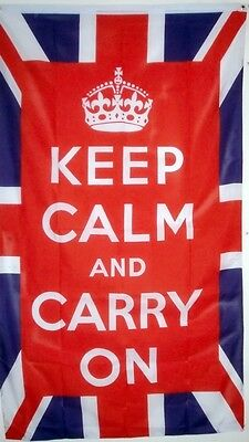 KEEP CALM AND & CARRY ON FLAG Union Jack British royal flags WARTIME 5X3 FEET