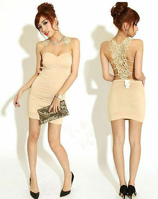 Women Lace Back Clubwear Party Cocktail Sexy Evening Mini Dress Apricot S LN