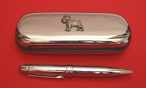 Schnauzer-Dog-Pewter-Motif-On-Chrome-Pen-Box-Ball-Point-Pen-Mother-Father-Gift