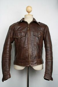 Vtg-70s-HARLEY-DAVIDSON-AMF-Fitted-Leather-Motorcycle-Jacket-Medium