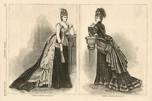Victorian-Fashion-View-Evening-amp-Visiting-Dress-Original-1874-Antique-Art-Print