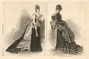 Victorian-Fashion-View-Evening-Visiting-Dress-Original-1874-Antique-Art-Print