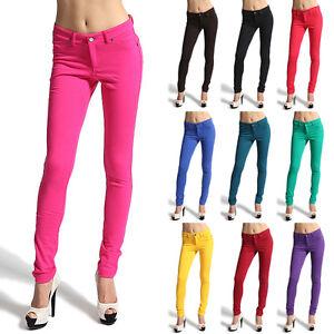MOGAN-Moleton-Stretch-Color-Jeggings-Ankle-SKINNY-JEAN-PANTS-Zipper-Leggings-NEW