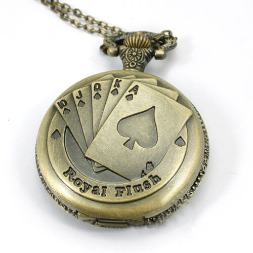 Antique Bronze Royal Flush Poker Card Quartz Pocket Watch Necklace Chain Gift