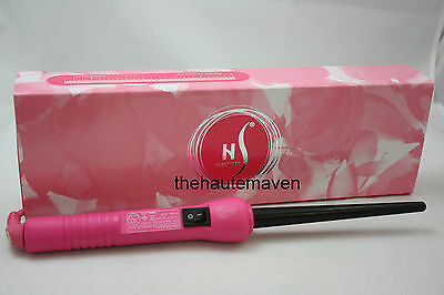 NIB herstyler  PINK  baby curls wand curling iron 9-18mm pro waves pink $200 NEW