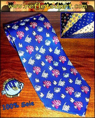100% Vero Cravate Soie Bleue Poissons Mer Silk Fish Blue Tie Cravatta Seta Pesce Mare Forma Elegante