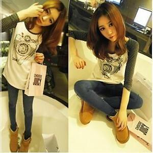 Korean-Women-Chic-Slim-Fit-Camera-Printed-Polka-Dots-Sleeve-Crew-Neck-T-Shirt-6