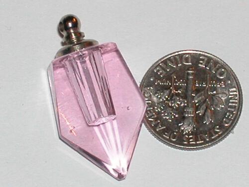 1 pc. PINK Glass Perfume Sword fang vial pendant charm bottle Screw Cap top