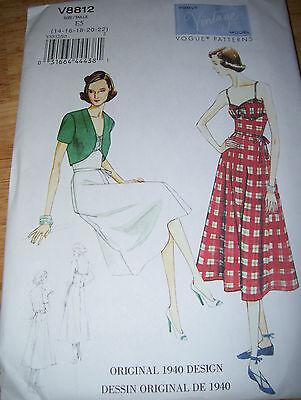 VOGUE #V8812-1940 DESIGN- LADIES PRETTY SUNDRESS & BOLERO JACKET PATTERN  6-22uc