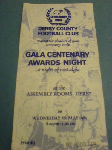 Derby County Gala Awards Night Invitation 8 May 1985